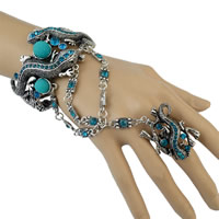 Zinc Alloy Bracelet Ring with Resin with 4lnch extender chain Gecko antique silver color plated with rhinestone sea blue nickel lead   cadmium free Inner Diameter:Approx 65mm US Ring Size:8 Length:Approx 8 Inch 3Strands/Lot