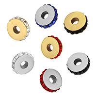 Ruostumaton teräs Välike helmiä, kanssa tekojalokivi savi Pave, Litteä pyöreä, päällystetty, enemmän värejä valinta, 4x14x14mm, Reikä:N. 4mm, 10PC/erä, Myymät erä