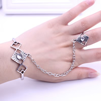Zinc Alloy Bracelet Ring Rhombus antique silver color plated adjustable   with rhinestone lead   cadmium free 18mm 56mm Inner Diameter:Approx 56mm US Ring Size:7.5 Length:Approx 6.5 Inch