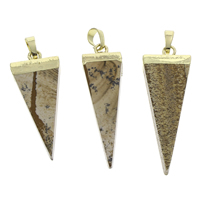 Picture Jasper Pendant with brass bail Triangle gold color plated 17x41x7mm-17x47x7mm Hole:Approx 3x6mm 10PCs/Bag