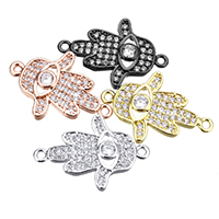 Evil Eye Connector, Brass, Evil Eye Hamsa, plated, Islamic jewelry & micro pave cubic zirconia & 1/1 loop, more colors for choice, nickel, lead & cadmium free, 15x22.50x3mm, Hole:Approx 1.5mm, 10PCs/Lot, Sold By Lot