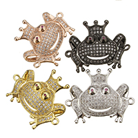 Cubic Zirconia Micro Pave Brass Connector Frog plated micro pave cubic zirconia   1/1 loop nickel lead   cadmium free 27.50x23x6mm Hole:Approx 2mm 10PCs/Lot