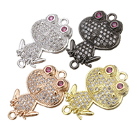 Cubic Zirconia Micro Pave Brass Connector Frog plated micro pave cubic zirconia   1/1 loop nickel lead   cadmium free 15x23x3.50mm Hole:Approx 1.3mm 10PCs/Lot