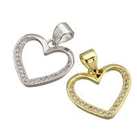 Brass Heart Pendants, plated, micro pave cubic zirconia, more colors for choice, nickel, lead & cadmium free, 15x14x1.50mm, Hole:Approx 3.5x4.5mm, 10PCs/Lot, Sold By Lot