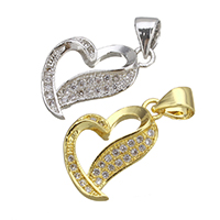 Brass Pendant, Heart, plated, micro pave cubic zirconia, more colors for choice, nickel, lead & cadmium free, 10.50x17x4mm, Hole:Approx 3.5x4.5mm, 10PCs/Lot, Sold By Lot