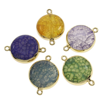 Crackle Agate Connector with Iron Flat Round gold color plated dyed   1/1 loop 27x19x8mm-31x21x8mm Hole:Approx 2mm 10PCs/Bag