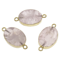 Rose Quartz Connector, with Iron, Flat Oval, gold color plated, natural & 1/1 loop, 28x14x7mm-29x16x8mm, Hole:Approx 2mm, 10PCs/Bag, Sold By Bag