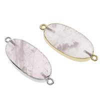 Rose Quartz Connector, with Iron, Flat Oval, plated, natural & 1/1 loop, more colors for choice, 38x16x6mm-40x18x7mm, Hole:Approx 2mm, 10PCs/Bag, Sold By Bag