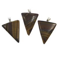 Natural Tiger Eye Pendants, with iron bail, Triangle, platinum color plated, 29x35x7mm-31x40x8mm, Hole:Approx 3x5mm, 10PCs/Bag, Sold By Bag