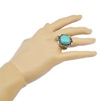 цинковый сплав Открыть палец кольцо, с Синтетическая бирюза, Форма цветка, плакированный цветом под старое серебро, регулируемый, не содержит никель, свинец, 25mm, размер:6.5, 3ПК/Лот, продается Лот
