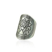 Кольца на весь палец, цинковый сплав, плакированный цветом под старое серебро, не содержит свинец и кадмий, 28x17mm, размер:6.5, продается PC