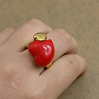 Resin Finger Ring Stainless Steel with Resin Heart gold color plated 19mm US Ring Size:8 10PCs/Lot