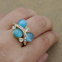 Gemstone Stainless Steel Finger Ring with Cats Eye gold color plated with rhinestone 16.50mm US Ring Size:8 10PCs/Lot