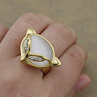 Gemstone Stainless Steel Finger Ring with Cats Eye Fox gold color plated with rhinestone 29x21mm US Ring Size:8 10PCs/Lot
