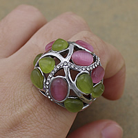 Gemstone Stainless Steel Finger Ring with Cats Eye with rhinestone   hollow original color 25.50mm US Ring Size:8 10PCs/Lot