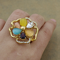 Gemstone Stainless Steel Finger Ring with Cats Eye   Crystal Flower gold color plated faceted   with rhinestone   hollow 30.50x32mm US Ring Size:8 10PCs/Lot