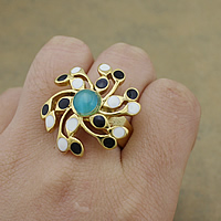 Enamel Stainless Steel Finger Ring with Cats Eye Flower gold color plated 29mm US Ring Size:8 10PCs/Lot