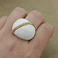 Resin Finger Ring Stainless Steel with Resin gold color plated with rhinestone 23mm US Ring Size:8 10PCs/Lot
