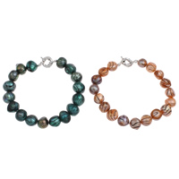 Freshwater Cultured Pearl Bracelet Freshwater Pearl brass spring ring clasp Baroque platinum color plated dyed 10-11mm Sold Per Approx 7.5 Inch Strand