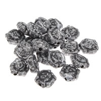 Antique Acrylic Beads, Flower, imitation antique silver, 10x10x4mm, Hole:Approx 1mm, 200G/Bag, Sold By Bag