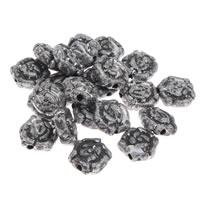 Antyczne koraliki akrylowe, Akryl, Kwiat, imitacja starego srebra, 10x10x4mm, otwór:około 1mm, 200G/torba, sprzedane przez torba