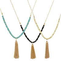 Zinc Alloy Sweater Chain Necklace with Japanese Glass Seed Bead with 1lnch extender chain Tassel gold color plated Bohemian style   oval chain nickel lead   cadmium free 70mm Length:Approx 26 Inch 3Strands/Lot