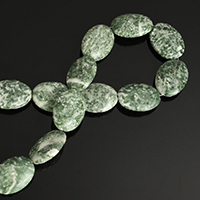 Natural Green Spot Stone Beads, Flat Oval, 25x18mm, Hole:Approx 2mm, Length:Approx 15 Inch, 5Strands/Lot, Approx 16PCs/Strand, Sold By Lot