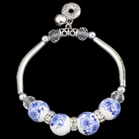 Zinc Alloy Bracelet, with iron bell & Porcelain & Crystal, antique silver color plated, with bell & faceted, lead & cadmium free, 13mm, Sold Per Approx 7 Inch Strand