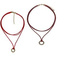 шнур ожерелье, Искусственная кожа, с цинковый сплав, с 1lnch наполнитель цепи, плакированный цветом под старое золото, 3-нить, разноцветный, не содержит никель, свинец, длина:Приблизительно 15 дюймовый, 4пряди/Лот, продается Лот