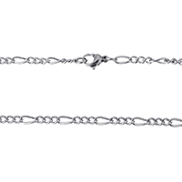 Stainless Steel Chain Necklace figaro chain original color 7x3x1mm 4x3x1mm Length:Approx 18 Inch 10Strands/Lot