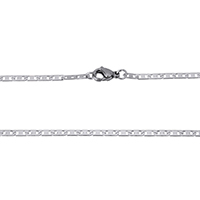 Stainless Steel Chain Necklace mariner chain original color 6x2x0.50mm Length:Approx 18 Inch 10Strands/Lot