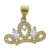 Cubic Zirconia Micro Pave Brass Pendant Crown micro pave cubic zirconia original color nickel lead   cadmium free 17x12x2mm Hole:Approx 4mm 10PCs/Bag