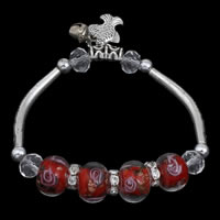 Zinc Alloy Bracelet, with Crystal & Lampwork, antique silver color plated, with bell & faceted & with rhinestone & gold sand, lead & cadmium free, 12mm, Sold Per Approx 6 Inch Strand