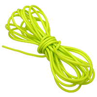 Rubber Cord, hollow, fluorescent green, 2mm, 1000m/Lot, Sold By Lot