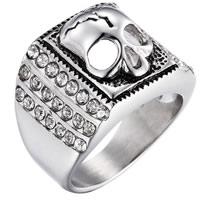 Пальцевидное Кольцо Титановой Стали, нержавеющая сталь, Череп, разный размер для выбора & Мужский & со стразами & чернеют, 24x31mm, продается PC