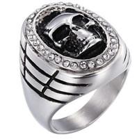 Пальцевидное Кольцо Титановой Стали, нержавеющая сталь, Череп, разный размер для выбора & Мужский & со стразами & чернеют, 26x31mm, продается PC