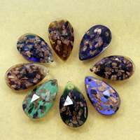 Gold Sand Lampwork Pendants, Teardrop, handmade, faceted, more colors for choice, 22x37x12mm, Hole:Approx 1mm, 10PCs/Bag, Sold By Bag