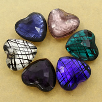 Silver Foil Lampwork Pendants, Heart, handmade, faceted, more colors for choice, 33x32x11mm, Hole:Approx 1mm, 10PCs/Bag, Sold By Bag