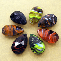 Fashion Lampwork Pendants, Teardrop, handmade, faceted, more colors for choice, 22x37x12mm, Hole:Approx 1mm, 10PCs/Bag, Sold By Bag