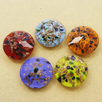 Gold Sand Lampwork Pendants, Flat Round, handmade, faceted, more colors for choice, 35x13mm, Hole:Approx 1mm, 10PCs/Bag, Sold By Bag