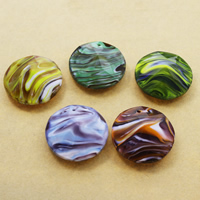 Fashion Lampwork Pendants, Flat Round, handmade, faceted, more colors for choice, 35x13mm, Hole:Approx 1mm, 10PCs/Bag, Sold By Bag