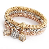 Zinc Alloy Bracelet Set Dice plated lantern chain   with rhinestone nickel lead   cadmium free Length:Approx 8.2 Inch 3Strands/Set
