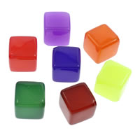 Jelly Style Acrylic Beads, Cube, more colors for choice, 18x18mm, Hole:Approx 2mm, 10PCs/Bag, Sold By Bag