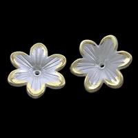 ABS пластик жемчужина колпачок, Форма цветка, плакирован золотом, белый, 23x5mm, отверстие:Приблизительно 1mm, Приблизительно 500ПК/сумка, продается сумка