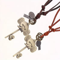 Шнур из натуральной кожи Свитер ожерелье, с цинковый сплав, Ключ, слово люблю тебя, Другое покрытие, регулируемый & с письмо узором, Много цветов для выбора, не содержит никель, свинец, 45x85mm, длина:Приблизительно 30.7 дюймовый, 2пряди/Лот, продается Лот