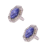 Natural Gemstone Finger Ring Zinc Alloy with Sodalite antique silver color plated faceted   with rhinestone nickel lead   cadmium free 20x27mm US Ring Size:7