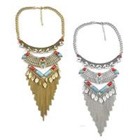 Мода себе ожерелье, цинковый сплав, с Синтетическая бирюза, с 2.7lnch наполнитель цепи, Другое покрытие, твист овал & со стразами, Много цветов для выбора, 110mm, длина:Приблизительно 16.5 дюймовый, 5пряди/Лот, продается Лот