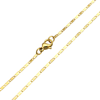 Stainless Steel Chain Necklace gold color plated valentino chain 4x1.50x0.10mm Sold Per Approx 19 Inch Strand