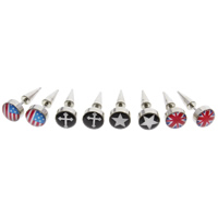 Stainless Steel Ear Piercing Jewelry, Flat Round, detachable & mixed pattern & enamel & decal, original color, 8x21mm, 12Bags/Lot, 2PCs/Bag, Sold By Lot