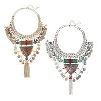 Мода себе ожерелье, цинковый сплав, с нейлон & Кристаллы & канифоль, с 2.7lnch наполнитель цепи, Другое покрытие, Цепной ящик & граненый, Много цветов для выбора, не содержит никель, свинец, 110mm, Продан через Приблизительно 18.1 дюймовый Strand